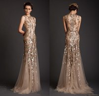 Wholesale Grape Shape Lighting - 2018 Dresses Evening Wear Gold Mermaid Shape Tulle Sheer See Through Appliques Prom Dress Emboridery Long Dubai Formal Gowns