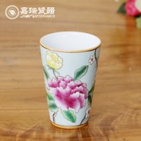Wholesale 200ml Beautiful Chinese Ceramic Cups Coffee Tea Mugs Pure Hand Painting Birds Floral Ceramic Drinkware Tumbler