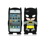 Wholesale 3d Black Batman Case - Cute 3D Cartoon Batman Soft Silicone Case Cover For iphone 7 6 6S 5 5S Cell Phone Cases drop shipping
