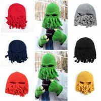 Wholesale Crochet Gifts For Girls - Winter Octopus Hats Novelty Handmade Knitting Wool Funny Beard Caps Crochet Knight Beanies For Men Women Christmas Gift DHL Free Shipping