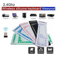 Wholesale Pocket Keyboard - Soft keyboard 107 key Portable 2.4G Wireless Silicone Keyboard Roll Up Flexible Waterproof Folding Pocket Type Keyboard for PC Laptop Tablet