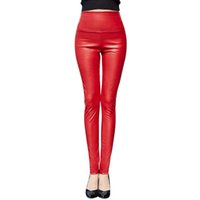Wholesale Women S Blue Leather Pants - Thicken Winter PU Leather women pants high waist elastic fleece stretch Slim woman pencil pants skinny trousers