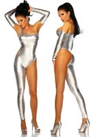 Wholesale Separate Legs - Wholesale- 2016 sexy night club imitation leather jumpsuit gold sliver black one leg rompers women strapless sleeve separated jumpsuits