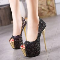 Wholesale Shoes Sequins Fish - New Elegant Women High-heeled Shoes Fine Heel Sequins Sexy Women Shoes Fish Mouth Waterproof Ladies Shoes