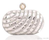 Wholesale Big Diamond Clutch - Designer Wedding Bridal Bridesmaid Clutch Women Silver Gold Metal Hard Box Big Crystal Rhinestone Swarovski Evening Clutch Bag Handbag Purse