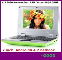 NEW 7-Zoll-Mini Netbook VIA 8880 512MB RAM 4GB ROM Android 4.4.2 1GB 8GB Notebook WiFi HDMI Webcam Laptop DHL