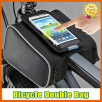 "Wholesale Top Brand Bag Wholesale - Roswheel Cycling Bicycle Front Top Tube Frame Double Bag iPhone 6s Samsung S7 Touch Case for 3.0"" - 5.5"" Cellphone Phone"