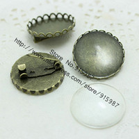 Wholesale Cameo Brooch Settings - (10 set lot) Antique Bronze Metal brooch Cameo 26mm (Fit 25mm Diy) Round Cabochon Settings + Clear Glass Cabochons D0318