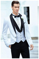 Wholesale Best Slimming Dresses - Hot Recommend --Best Stylish Shawl Collar Slim Fit White Groom Tuxedos Men's Wedding Dresses Prom Clothing (Jacket+pants+tie+vest)NO95