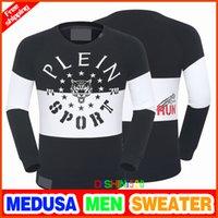 Wholesale Men S Skull Sweater - newest men sweater pp skull sets round neck flower casual Single best quality sweater men' s Medusa black white Long sleeved shirt M-3XL