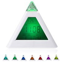 7 LED Change Colors Piramide LCD Digital Snooze Sveglia Tempo Dati Settimana Temperatura Termometro C / f Hour Home