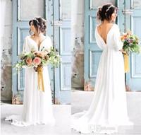 vestidos de boêmio grego venda por atacado-Sexy Com Decote Em V Sem Encosto Grego Vestidos de Casamento 2017 Robe de Mariage Boêmio Praia Vestido De Noiva Com Mangas País Vestido De Noiva