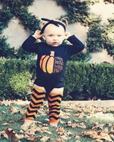 Wholesale Girls Jump Suits - Newborn baby romper pumpkin Halloween long sleeves girls boys cotton baby jump suits with headband and Leg Warmers 3pcs Sets size 70-100