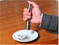 ingrosso spingere il pollice-Acciaio inossidabile Pollice Push Salt Pepper Grinder Spice Sauce Mill Grind Stick Tool