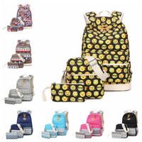 Wholesale Satchel Bags Owl - 10 Styles Owl Printed Backpack Emoji Backpack Unisex Animal School Bags Backpacks Teenage Outdoor Travel Bag 3pcs set CCA7086 10set