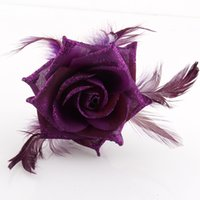 Wholesale Feather Corsages - Rose Feather Corsage brooch headpiece hairwear Hair Clips pin Fascinator belly dance costume cosplay Accessorries ta032