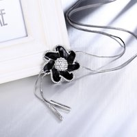 Wholesale Polymer Clay Flowers For Jewelry - Fashion New Jewelry Black Polymer Clay Flower Necklace Pendants Silver Plated Charm Chain Necklace For Women Party Gift Wholesale