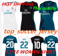 Wholesale Womens Ripped Shirts - Womens Reals Madrid jersey home away third blue 2017 2018 Ronaldo Soccer jersey MODRIC KROOS ISCO BENZEMA football shirts Camisa jersey