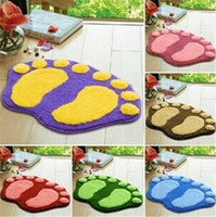 Wholesale Big Bath Mats - New lovely big foot shape soft bath mat Anti-slip bathroom toilet floor mat household kitchen mat IA697