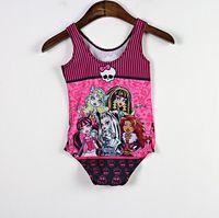 розничный купальник оптовых-Розничная дети девушки дети Monster High One Pieces высокий купальник купальники плавание Sunsuit 5-10Y мода пляж плавать серфинг одежда