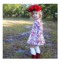 Wholesale Cute Designer Clothes - New Designer Baby Girl Dress Pageant Long Sleeve Boutique Clothing Fall Cute Kids Princess Dress 2017