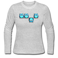 Wholesale Long Sleeve Owl Shirt - Novel ladies t-shirt funny cartoon print A different perspective for the owl cute girl's fall long-sleeve tees O neck