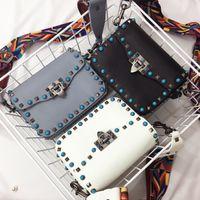 Wholesale Stud Bow Tie - high quality~w335 genuine grain leather gem stud shoulder bag strap white red black grey 19*15*8cm