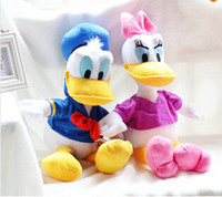 Wholesale Cute Donald Duck Plush - Wholesale-1pcs 30CM Cute Stuffed Dolls Donald Duck and Daisy Duck Kids Gift Plush Toys Soft & High Quality Children Christmas Gifts