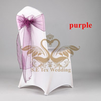 Wholesale Wholesale Spandex Chair Sashes - White Color Spandex Chair Cover And Purple Organza Chair Sash Free Shipping
