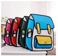 Sacs 3d Dessin Animé 3d Pas Cher-Sac de papier de mode 3D Jump Style de Dessin 2D Cartoon Comic Backpack Messenger Tote