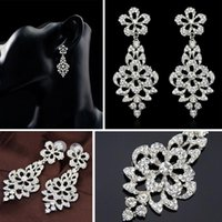 Wholesale Pair Crystal Stud Earrings - 5 Pairs lot Brand New Bridal Jewelry Crystal & Alloy Silver Planted Stud Earrings Free Shipping [GE03247*5]