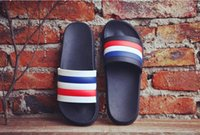 Wholesale Korean Fashion Slippers - Korean Trend stripe slippers, men and women summer fashion, casual cool slippers, rainbow personality beach shoes