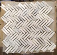 Free Double Herringbone Simple Y Decente Azulejos De Mosaico De Mrmol  Blanco Montado En Malla Fcil