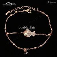 Wholesale Diamond Fish Jewelry - Fish Cubic Zirconia Diamond Rock 18K Gold Plated Chain Bracelets & Bangles Fashion Jewelry Trinket For Women Imitation Crystal DFH009