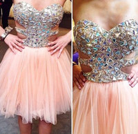 Wholesale Mini Cocktail Dresses Straps - Tulle sweetheart Criss Cross Straps big crystal pearl pink mini prom graduation cocktail dresses evening gowns plus size party short guest