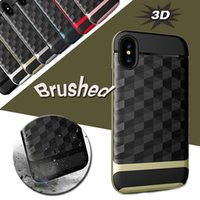 Miroir 3D 2 en 1 Étui en armature brossé Slim Shockproof Hybrid PC + TPU Dual Layer Protector pour iPhone X 8 7 Plus 6 6S Samsung Note 8 S8 S7 Edge