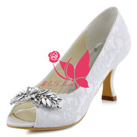 Wholesale Lace Peep Toe Bridal Shoes - Brand New Cheap Lace Shoes Diamonds Ornament Heels Bridal Shoes Peep Toe Wedding & Party Shoes WS0151 Customise Size 33 to 43