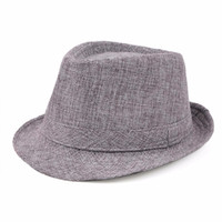 Wholesale Boys Street Dance - Women Fedora Trilby Gangster Cap Summer linen Panama Hat Vintage Retro Jazz Dance Hat Beach Sunhat 10pcs lot