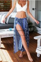 Wholesale Tropical Dresses For Summer - Summer Vacation Beach Dress Bohemia High Split Long Dress Fit for all Tank Hot Girl Tropical Style Bohemia Style Long Dress Floral Printing