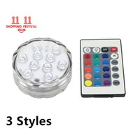Wholesale Led Lighting For Shop - 11.11 Shopping Festival RGB 5050 SMD 10LED Waterproof Submersible LED Tea Light Candle Light for Wedding Party Christmas Decorations