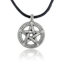 Wholesale White Gold Pentagram Pendant - Antique Pentagram with Runes Pagan Wiccan Pentacle Pendant on Leather Necklace