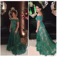 Wholesale mother court dress resale online - Dark Green Full Lace Mother of the Bride dresses Short Sleeves Off Shoulder Mother of Groom Dresses Plus Size Cheap Evening Gowns Custom