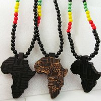 Wholesale Good Wood Africa Pendant - Africa Map Pendant Good Wood NYC Hip-Hop Wooden Fashion Necklace Wholesale Hot Sale