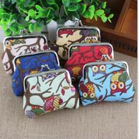 eule brieftaschen großhandel-Brieftasche Cartoon Eule Geldbörsen Dame Canvas Kleine Geldbörsen Ändern Sie Halter Größe Frauen Mädchen Designer Geld Tasche Weihnachten Förderung Geschenk