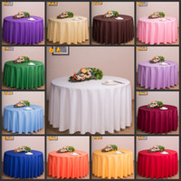 Wholesale White Satin Round Tablecloths - Free by DHL,10 pieces Tablecloth Table Cover Round Satin for Banquet Wedding Party Decoration White Black Wholesales 71""