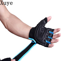 Wholesale Red Climbing Gloves - men fitness half finger Anti-skid cycling Weight Lifting gloves Gym dumbbell Tactical exercise climbing outdoor barbell glove