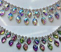 Wholesale Dresses For Dances - 90cm lot fashion pink AB colorful acryl tear-drop crystal rhinestone chain strass fringes for dancing dress garment decoration