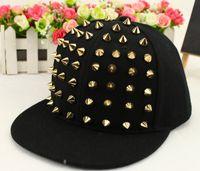 Wholesale Kid Flat Peak Caps - New Kids Hat Caps Fashion punk rivets hip hop flat along baseball caps peaked hats Snapback caps