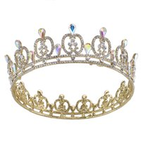 Wholesale tiara miss - Luxury Gold Plated Faux pearls and AB teardrop rhinestone bridal miss beauty hair tiaras crow