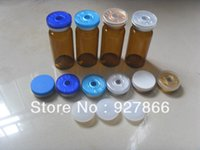 Wholesale Glass Injection Bottles - Wholesale- 100sets 10ml Amber Glass Vials + Silicone Stopper +Flip Off Caps, Cosmetic Injection glass bottles with Crimp Neck,100% New